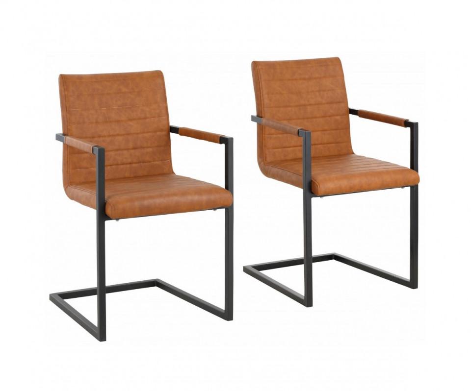 Set de 2 scaune Sabine piele sintetica/metal, cognac 54 x 59 x 87 cm