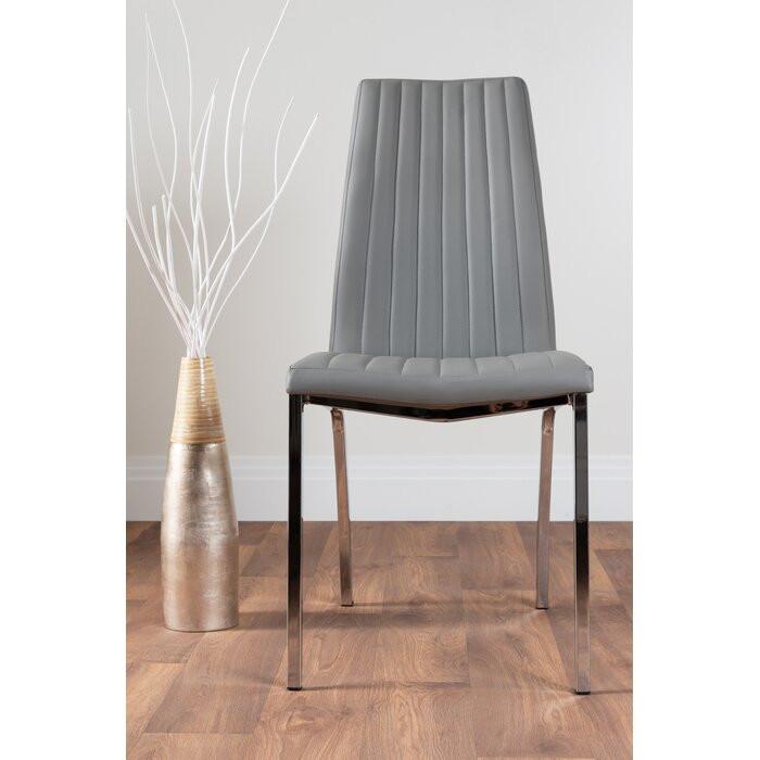 Set de 2 scaune Samirah, Tapitate, Gri chilipirul-zilei.ro