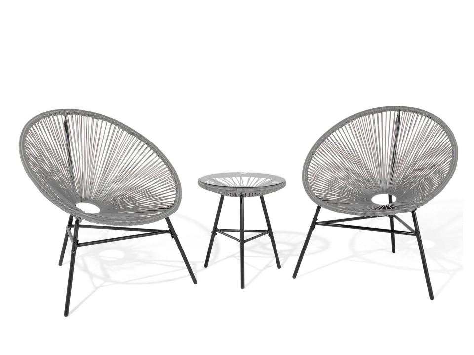 Set de 2 scaune si o masuta ACAPULCO, gri imagine chilipirul-zilei.ro