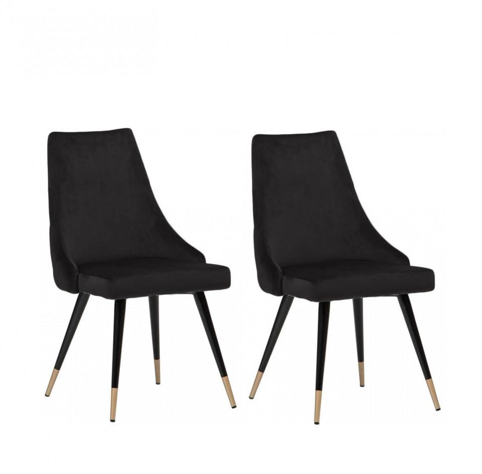 Set de 2 scaune tapitate Piccolo, catifea, negru, 52,07 x 62,48 x 88,39 cm image0