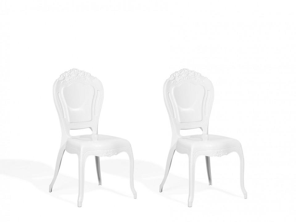 Set de 2 scaune VERMONT, policarbonat, albe, 52 x 52 x 98 cm