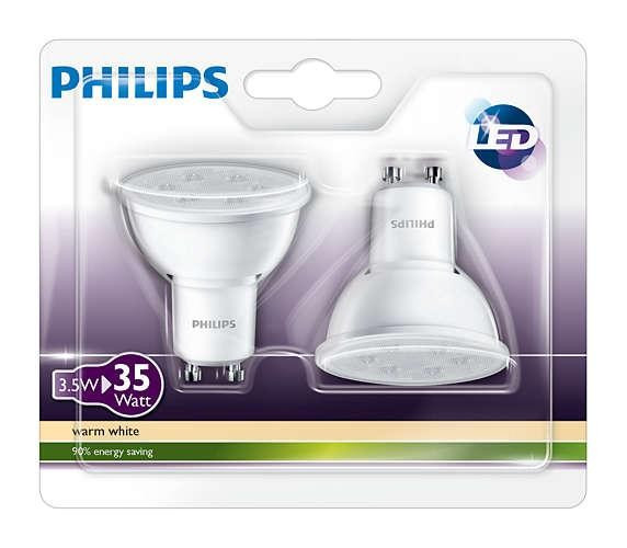 Set de 2 spoturi LED Philips 3.5W GU10 , lumina calda, alb