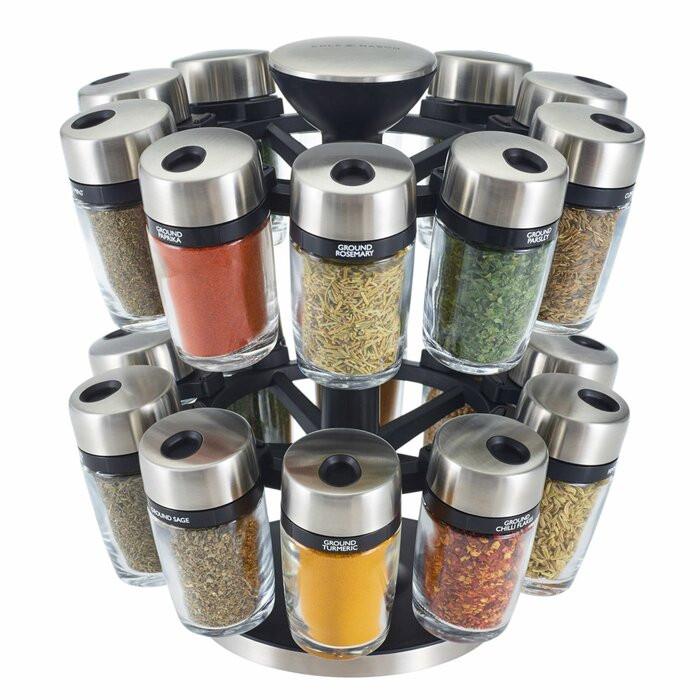 Set de 20 recipiente si suport, transparent/argintii, 25 x 23 x 23 cm chilipirul-zilei.ro