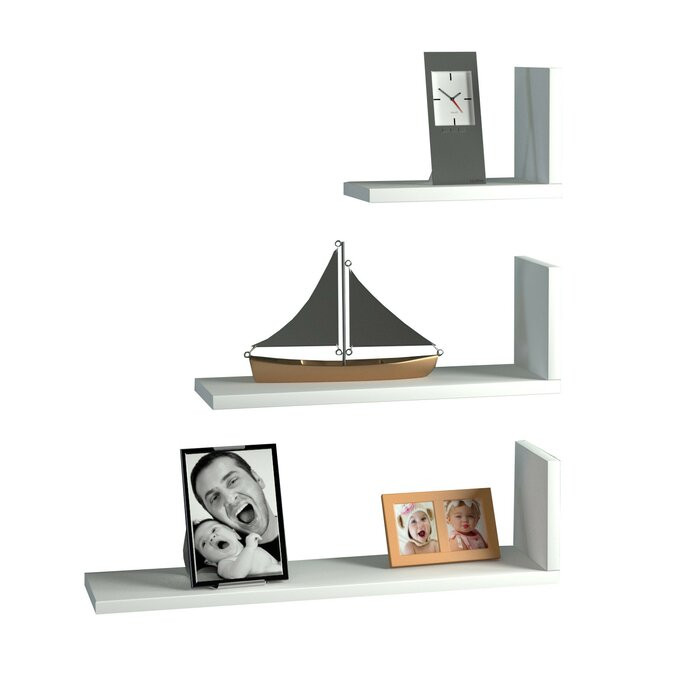 Set de 3 rafturi Varnell, PAL, albe, 60 x 66,3 x 14,5 cm imagine chilipirul-zilei.ro