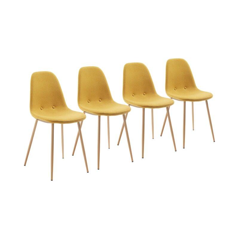 Set de 4 scaune tapitate Lamply, galben, 87 x 40 x 47 cm image0