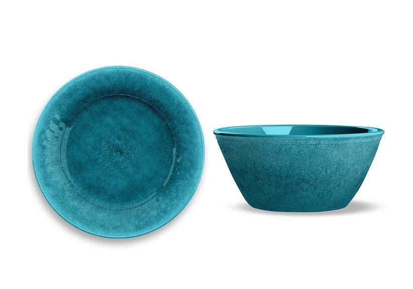 Set de 8 farfurii si boluri Potter Reactive, albastru-turcoaz poza chilipirul-zilei.ro