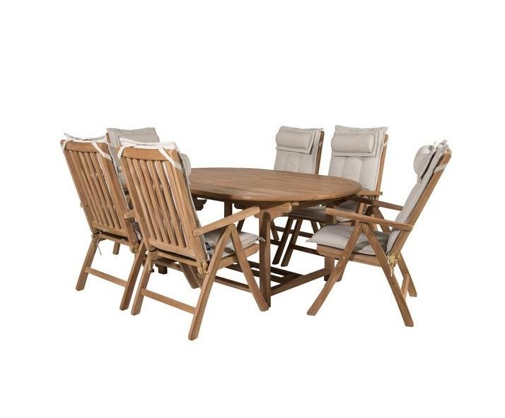 Set de masa extensibila si 6 scaune pliante Baek, lemn masiv imagine chilipirul-zilei.ro