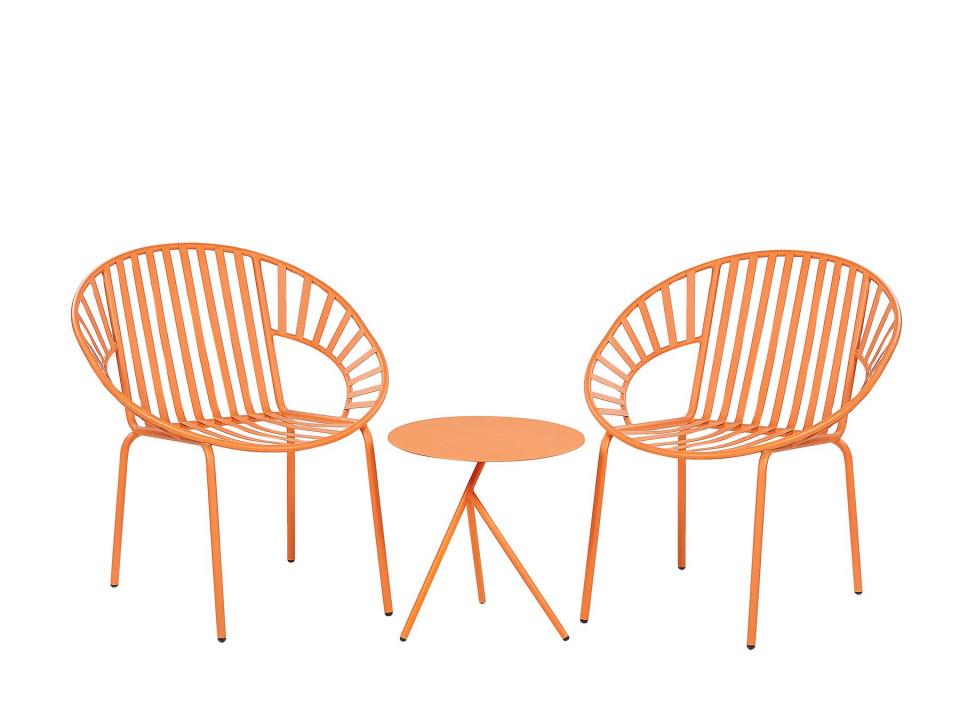 Set de masuta si 2 scaune LICATA, metal, portocalii imagine chilipirul-zilei.ro