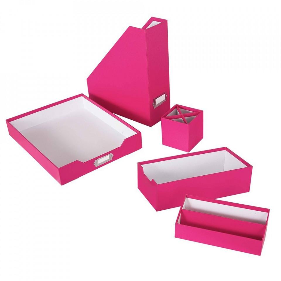 Set organizare birou, roz mat, 5 piese