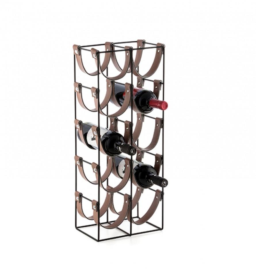 Suport pentru 10 Sticle de Vin KARLL, din metal si piele, 24x16x60cm imagine 2021 chilipirul zilei