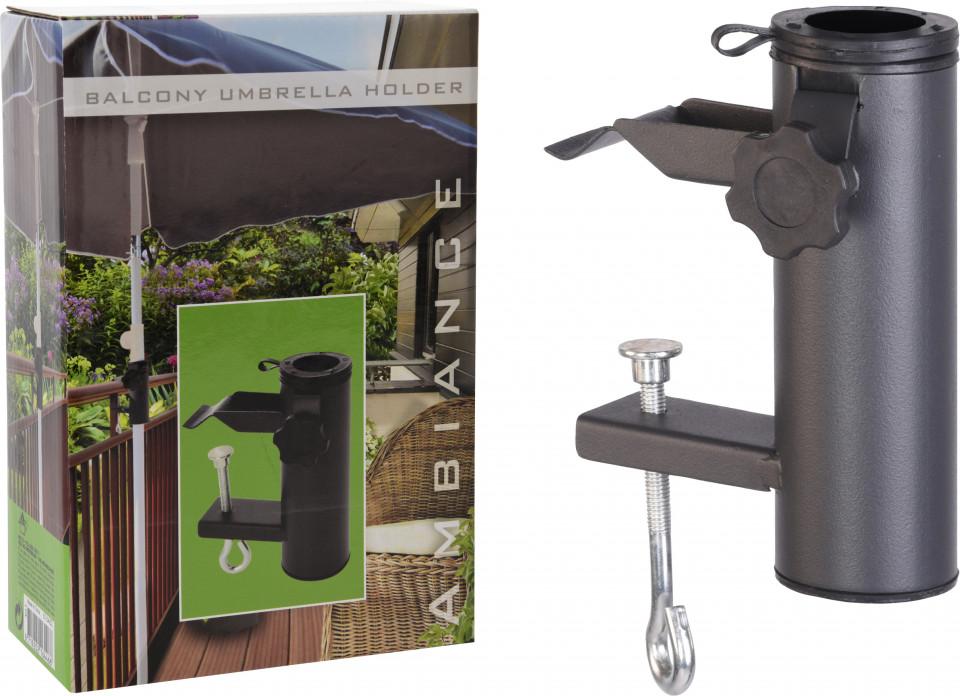 Suport pentru umbrela balcon / terasa Ambiance, cu sistem de prindere pe balustrada, metal, negru