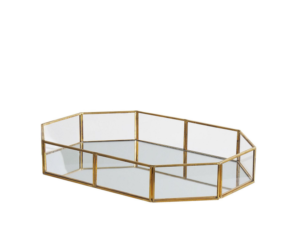 Tava decorativa CHABRIS, sticla/metal, aurie, 32 x 22 x 6 cm