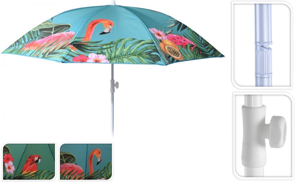 Umbrela pentru plaja Tropical Karll, 180x200 cm, multicolor chilipirul-zilei.ro