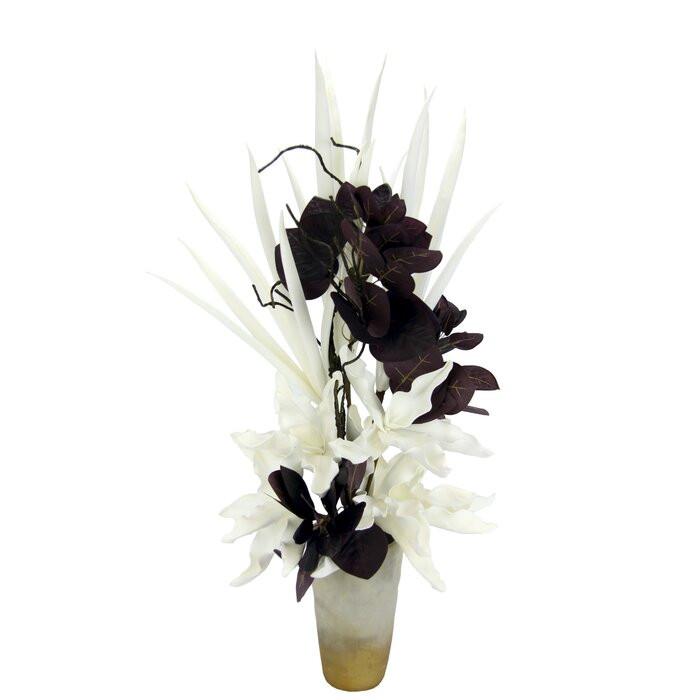 Vaza si floare artificială, ceramica/poliester, 80 x 30 x 28 cm