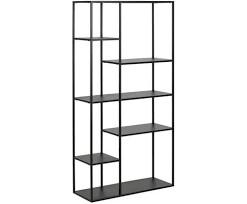 Bibliotecă Newton din metal, negru, 160x80