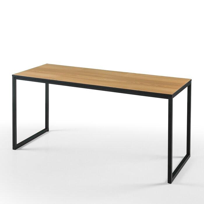 Birou, lemn/metal, maro/negru, 74 x 160 x 61 cm