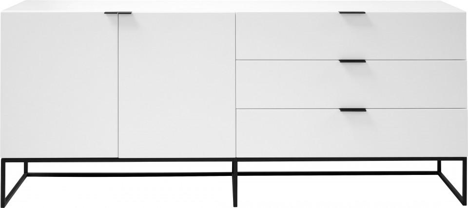Bufet Kobe, alb/negru, 180 x 80 x 45 cm imagine 2021 chilipirul zilei