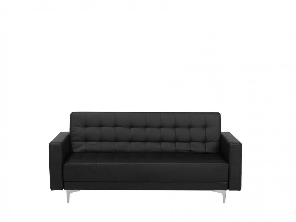 Canapea extensibila ABERDEEN, lemn/piele ecologica, neagra, 83 x 186 x 88 cm