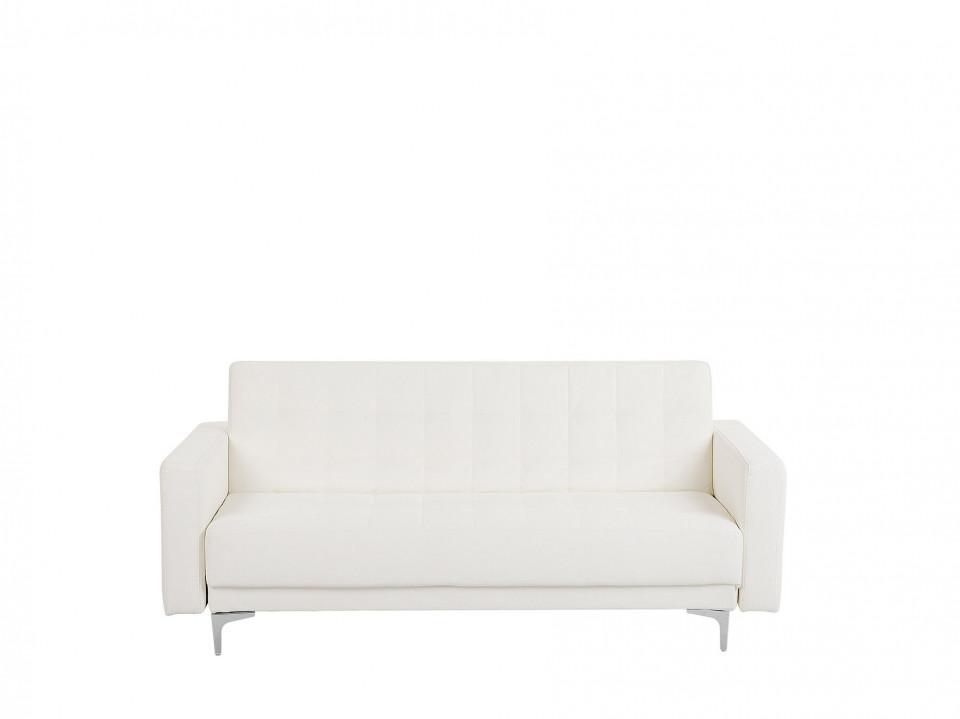 Canapea extensibila Aberdeen, piele ecologica, alb, 83 x 186 x 88 cm image0