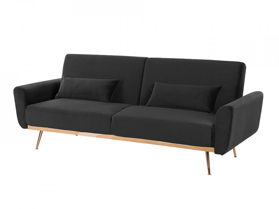 Canapea extensibilă din catifea neagră EINA, 210 x 86 cm chilipirul-zilei 2021