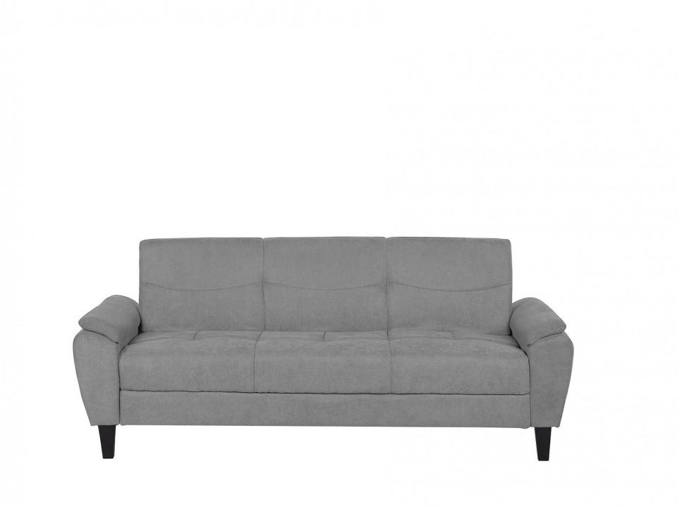 Canapea extensibila HALMSTAD, lemn/poliester, gri, 93 x 220 x 56 cm