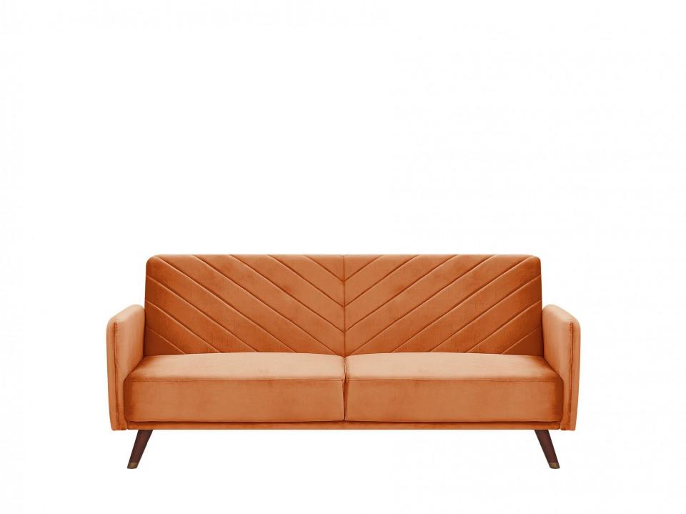 Canapea extensibila SENJA, catifea, portocalie, 87 x 200 x 95 cm imagine 2021 chilipirul zilei