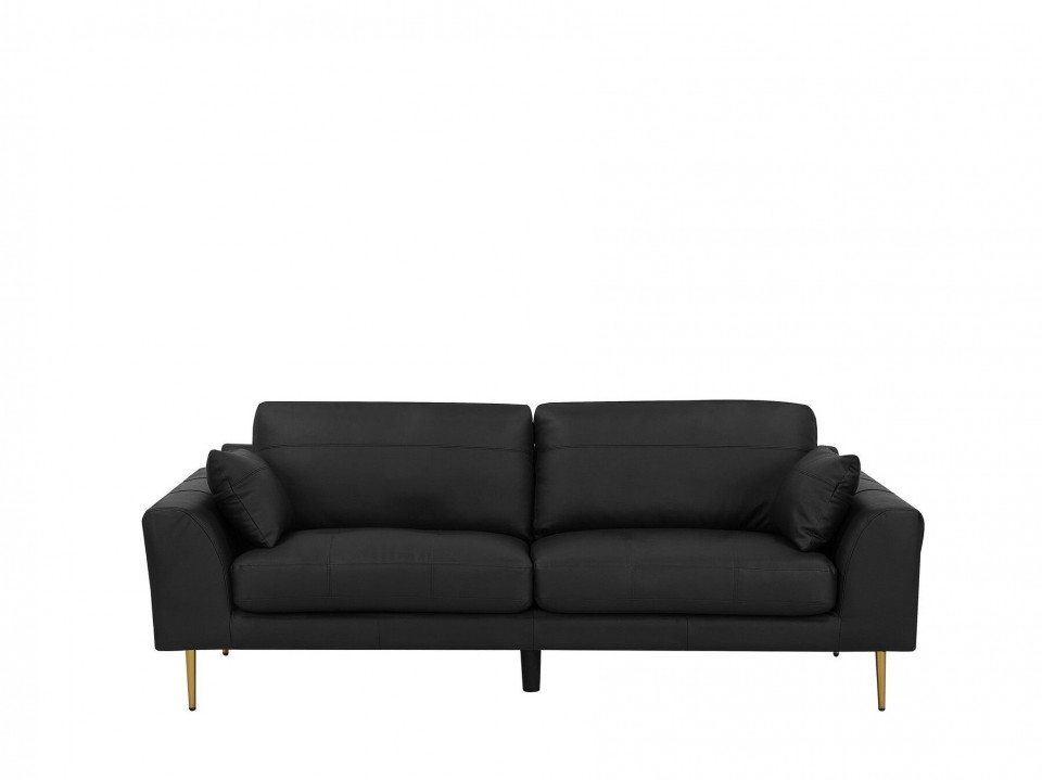 Canapea Torget, 3 locuri, piele naturala neagra