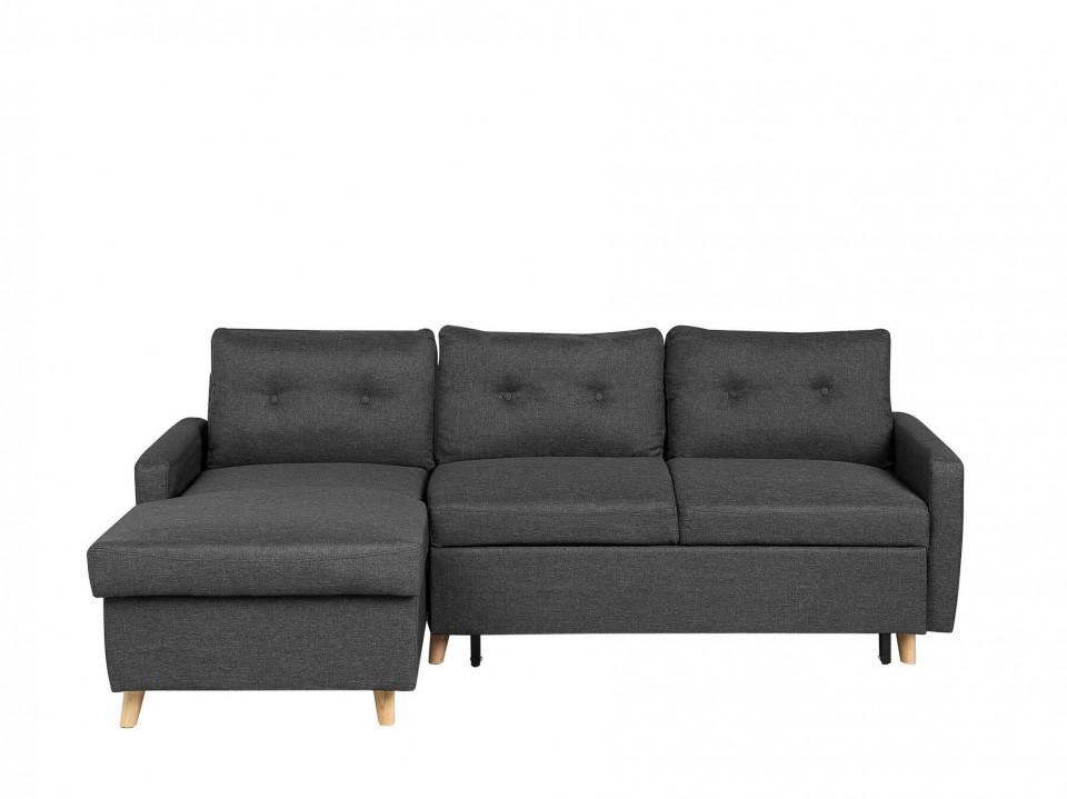 Coltar FLAKK, extensibil, lemn/poliester, gri, 90 x 232 x 147 cm