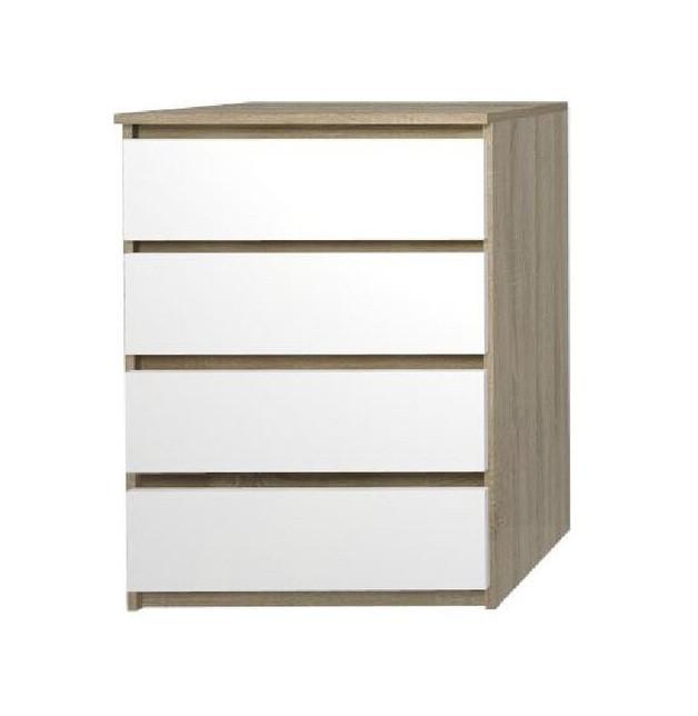Comodă Dufrene cu 4 sertare, bej / alb, 101 x 70 x 38.5 cm
