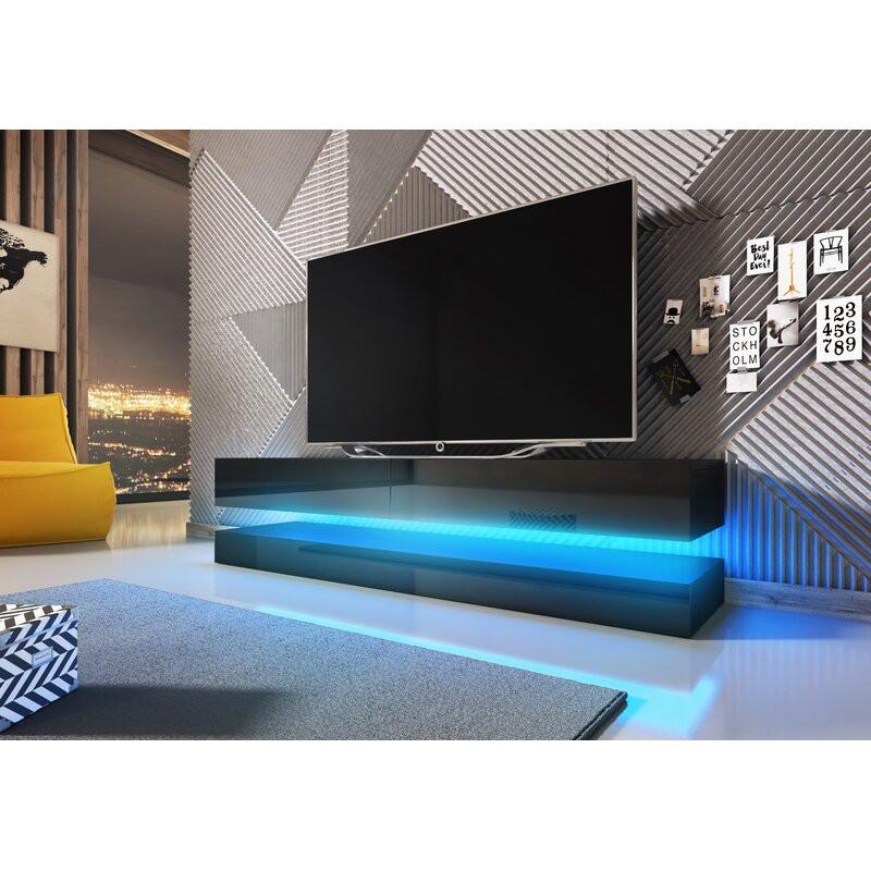 Comodă TV 55  Bassilly din PAL și sticlă, negru, 140cm L x 34cm D