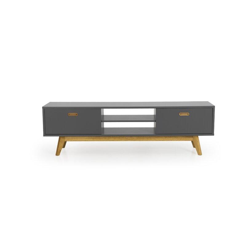 Comodă TV 67  din lemn masiv și PAL, gri, 170cm L x 50cm H x 43cm D
