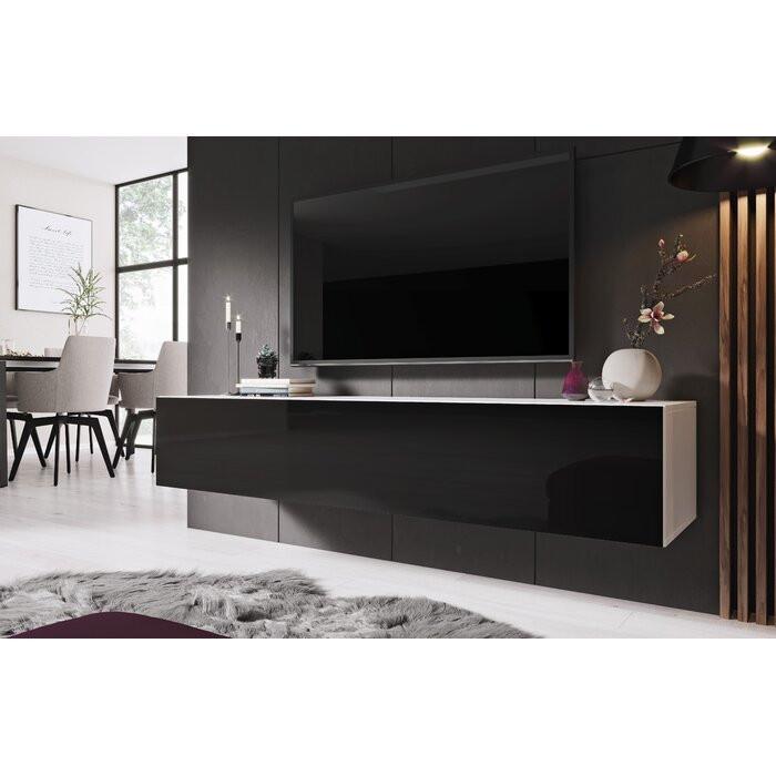 Comoda TV Christiane, alb/negru, 155,2 x 87,4 x 40 cm poza chilipirul-zilei.ro