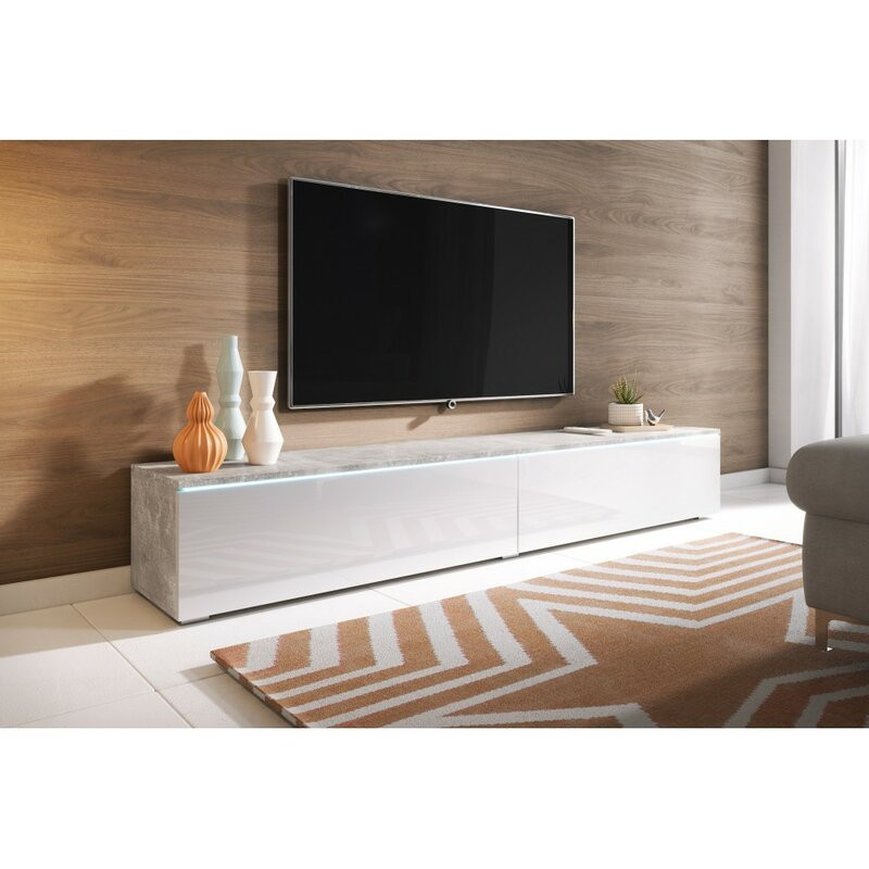 Comoda TV Pina, 30x180 x32 cm, beton/alb imagine 2021 chilipirul zilei