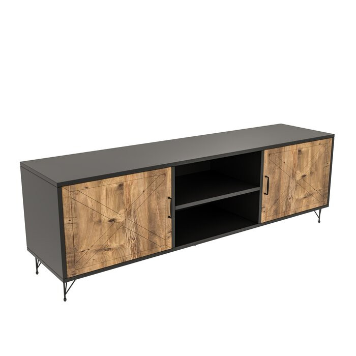 Comoda TV Plympt, MDF, maro/neagra, 160 x 56 x 40 cm