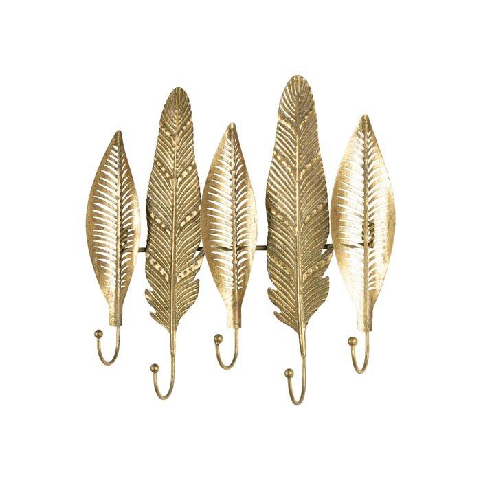 Cuier, metal, auriu, 40 x 43 x 6 cm