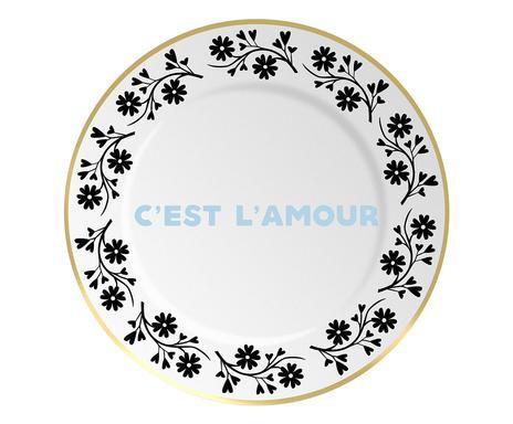 Farfurie decorativa C'Est L'Amour alb chilipirul-zilei.ro