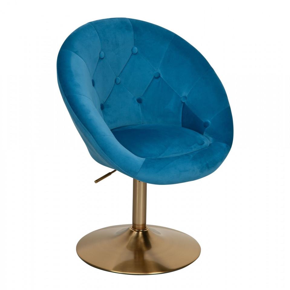 Fotoliu Antone albastru / auriu, 67 x 62 x 100cm