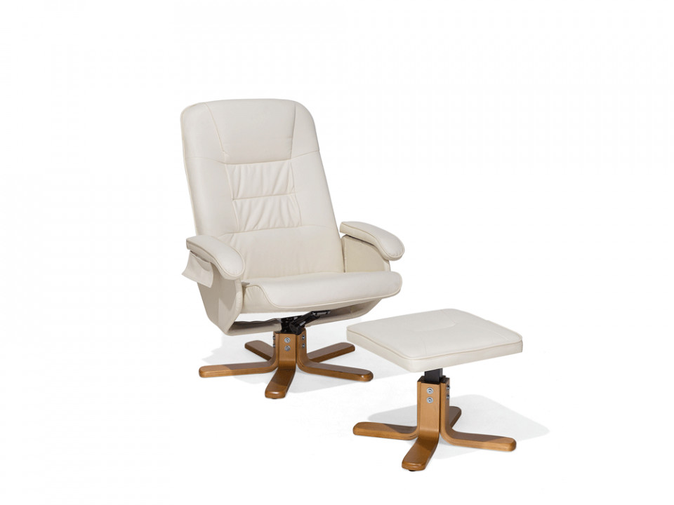Fotoliu reclinabil cu masaj si incalzire Relaxpro, piele ecologica, bej, 74 x 80 x 98 cm image0
