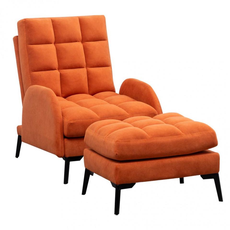 Fotoliu recliner din catifea mata cu taburet, portocaliu image0