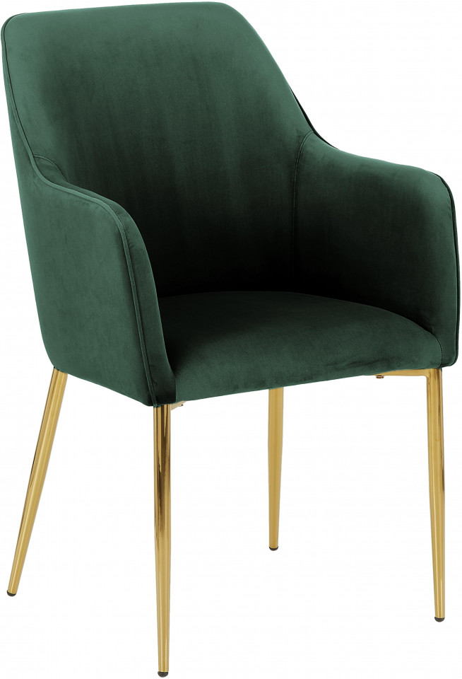 Fotoliu tapitat Ava, catifea verde inchis /picioare aurii