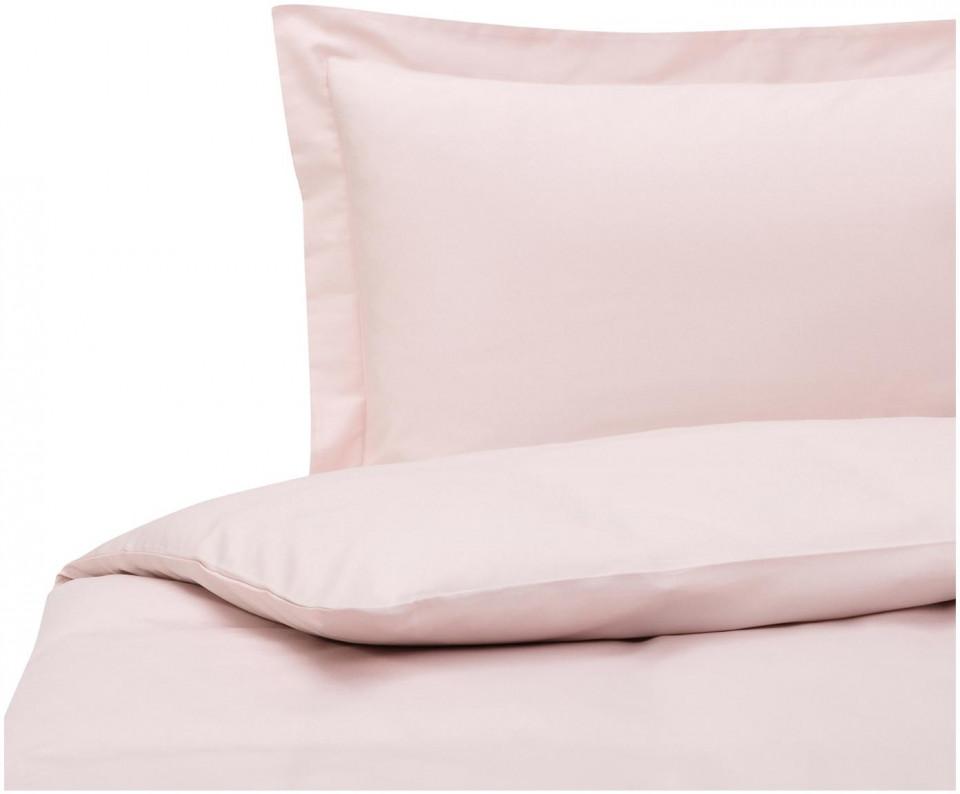 Lenjerie cu husa de plapuma din satin de bumbac roz premium, 155 x 200 cm 2021 chilipirul-zilei.ro