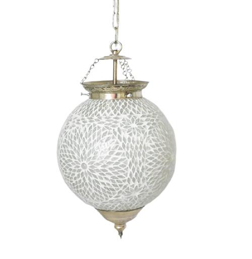 Lustra tip pendul Charron, 45 x 25 x 25 cm, metal/ sticla vitraliu
