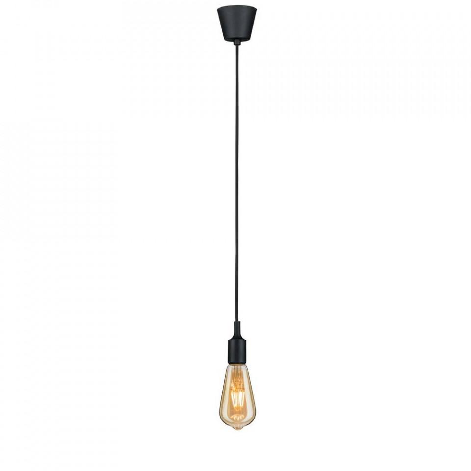 Lustra tip pendul Hopetoun I, plastic/metal/textil, neagra, 210 x 4,5 cm, 20w imagine