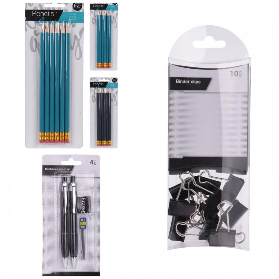 Pachet birotica set clipsuri, set 12 creioane HD, set 2 creioane mecanice chilipirul-zilei.ro