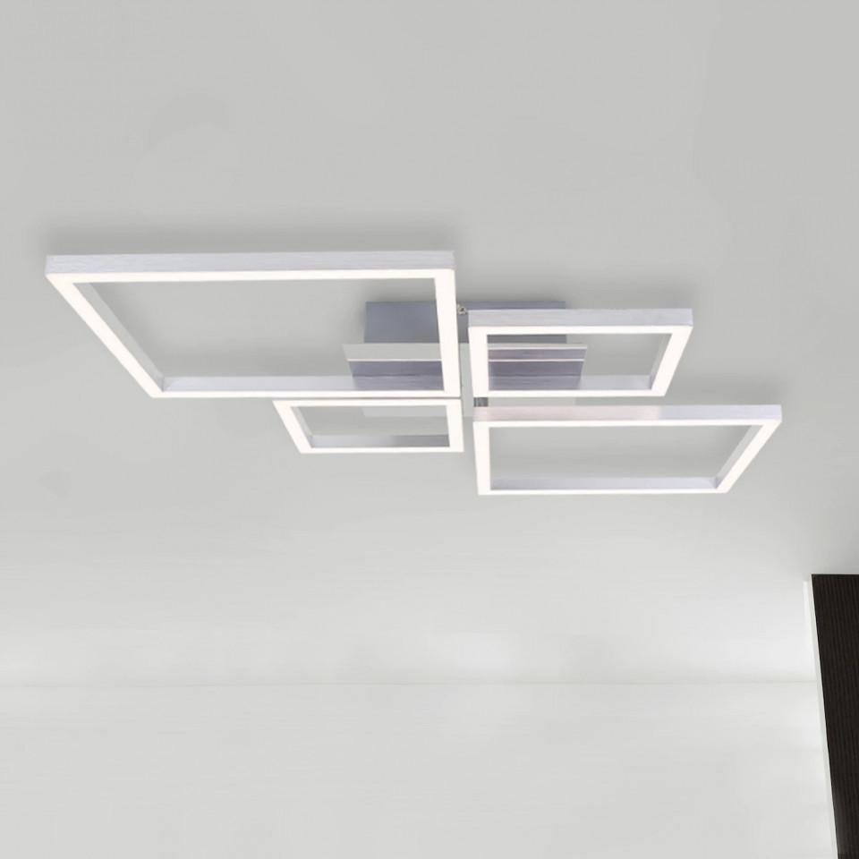 Plafoniera Tobi, metal/plastic, argintie, 47 x 7 x 75 cm, 48w chilipirul-zilei 2021