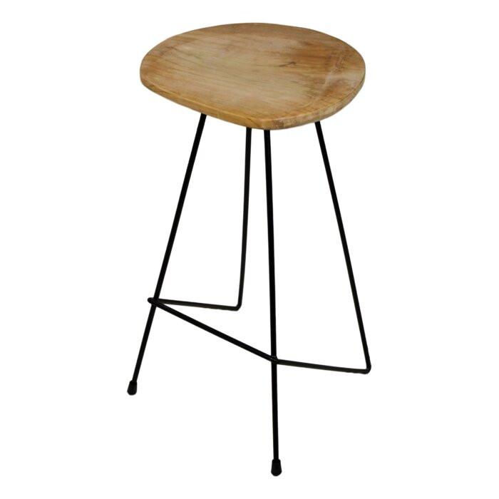 Scaun de bar Stacia, metal/lemn, negru/maro, 76 x 40 x 40 cm