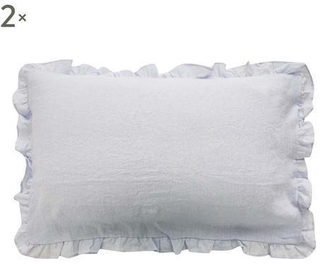 Set 2 fețe de pernă cu volanase ondulate Puro lino gri perlat, 50x80 cm imagine chilipirul-zilei.ro