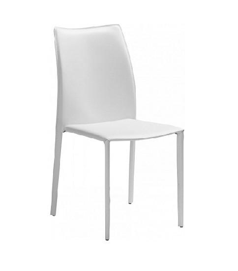 Set 2 scaune Soléne, tapițate, din piele ecologică, alb poza chilipirul-zilei.ro
