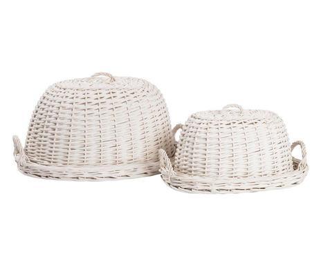 Set de 2 capace pentru alimente Annalise, alb imagine 2021 chilipirul zilei