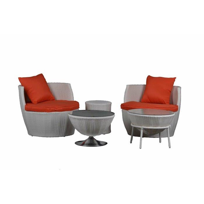 Set de 2 scaune, 2 mese si 1 taburet Sterret, ratan, gri poza chilipirul-zilei.ro